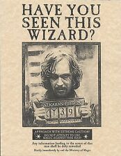 Harry Potter Sirius Black Have You Seen This Wizard? Wanted Flyer/Poster Replica