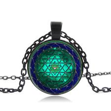1 pcs Sri yantra Necklace Black Glass Cabochon Necklace chain Pendant Wholesale