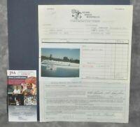 Leo Fender Signed 1984 Contractor Invoice 5 Polaroids Fullerton, Ca JSA COA