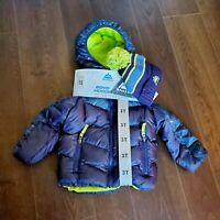 Snozu Boys Hooded Puffer Navy Blue Green Hooded Jacket Coat Knit Hat Sz 3T New
