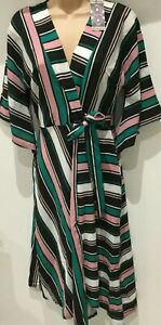 bnwt BOOHOO DRESS UK 10 BOLD STRIPES PINK GREEN WHITE MOCK WRAP BODICE DIP HEM