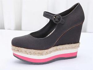 PRADA Womens Charcoal+Pink Canvas Mary-Jane Platform High-Heel Wedge 10-40 NEW