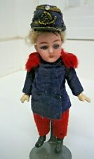 """Antique French jointed bisque Soldier Mignonette doll 4 3/4"""""""