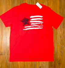 NAUTICA TEE SHIRT MEDIUM, RED WITH BLACK LOGO AND BLACK & WHITE FLAG 111463