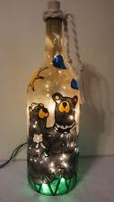 Bare feet Bears Bottle Lamp Hand Painted Lighted