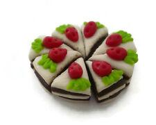 8 Loose White/Chocolate Strawberry Slice Cake Dollhouse Miniatures Food Bakery