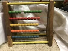 Vintage Sandberg Wood Abacus Math Counting Beads Toy School Supplies Educational