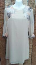 LITTLE MISTRESS BNWT Ladies Cream Embellished Dress Size 10