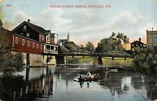 Mayville Wisconsin~Boating Under Bridge Street Camel back Bridge~Mill~1912 PC