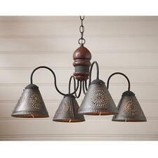 Cambridge American red wood chandelier w /black punched tin shades/ FREE SHIP
