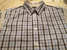 SEAN JOHN BLUE & WHITE SHIRT WITH CHEST LOGO SIZE L