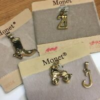 "Lot Of 4 Vintage Monet NYC Charms ""21""- Roller Skate - Boot & ""T"""
