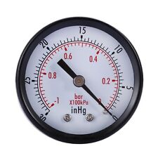 "1-1/2"" Dry Utility Vacuum Pressure Gauge Blk.Steel 1/8"" Center Back -30HG/0PSI"