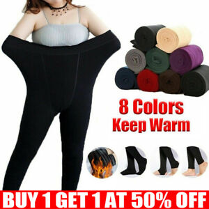 Women Ladies Winter Warm Fleece Lined Thick Thermal Full Foot Tights Pants UK