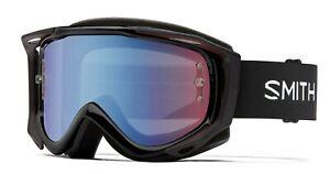 Smith Fuel V.2 MTB/Bike Goggles Black Frame, Blue Sensor Mirror Lens New +Bonus