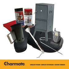 Charmate 2 Door Charcoal Patio Smoker Pack with Thermometer, Sauce, Rub + More