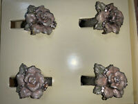 Ashleigh Manor Jeweled Rose Metal Napkin Rings - Lot Of 4 - New In Package