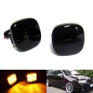 2PCS LED Side Indicator Black Turn Signal Light For VW SEAT SKODA Fabia Octavia