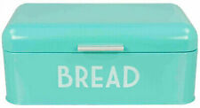 Vintage Bread Boxes for Kitchen Stainless Steel Metal Retro Turquoise Blue