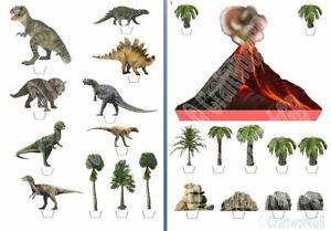 Dinosaur and Volcano Edible Wafer Cake Decoration Scene