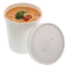 50 X 12oz Disposable Paper Cup Pasta Deli Soup Ice Cream Tub Bowl With Lid