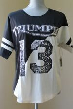 NEW LUCKY BRAND $49 WOM L FOOTBALL TRIUMPF TEE SHIRT BLACK OFF WHITE SHORT SL
