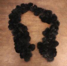 Rabbit Fur Black Pom Pom Scarf