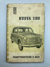 FIAT NUOVA 1100 LIBRETTO CARATTERISTICHE E DATI ORIGINALE D'EPOCA 1953  RARO