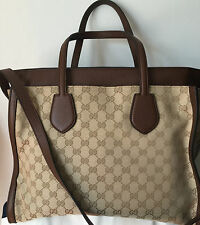 NWT GUCCI HANDBAG GG EXTRA LARGE SHOULDER BAG CANVAS & LEATHER TAN & DARK BROWN