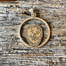 Large Modernist Sterling Silver Circle Lion Face Taxco 925 Vintage Pendant
