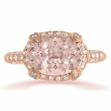 Natural Pink Morganite oval cut & Natural Diamond Ring 14K Rose Gold