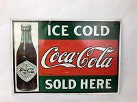 """Coca Cola Vintage Retro Tin Sign 1993 Ice Cold Coke Sold Here 16"""" x 11"""" - F"""