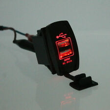 Universal Red LED Backlit  Car Motorcycle Dash Dual USB Port Charger Adapter HOT