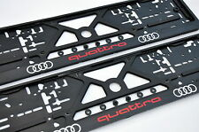 2x CAR LICENCE NUMBER PLATE SURROUNDS HOLDER FRAMES For Audi Quattro