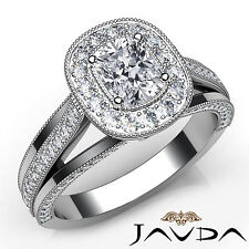 Cushion Diamond Millgrain Pave Womens Engagement Ring Gia H Si1 Platinum 1.63Ct