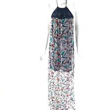 Ella Moss Tahiti Print Maxi Dress Blue Halter Size S Silk Chiffon Macrame Yoke