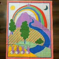 Awesome RARE Vintage Mid Century retro 70s bright rainbow cloud drop fabric! WOW