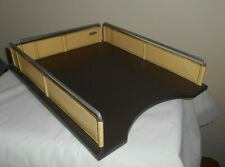 So Nice Rolodex Single Desk Paper Mail Tray Metal Rim With Leather Like Border