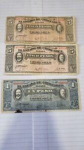 1914 Chihuahua Mexico Banknotes Cinco pesos, un peso Mexican currency notes
