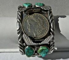 vin NAVAJO BT THOMPSON ? STERLING & TURQUOISE WIDE 141g MENS WATCH CUFF BRACELET
