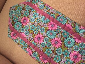 Handcrafted-Quilted Table Runner - Summer is Here - Floral - Purple/Turquoise