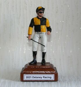 Custom hand painted Horse Racing Jockey with Silks in any colours of your choice