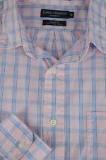 Daniel Cremieux Hombre Rosa Azul & Blanco Camisa Informal M