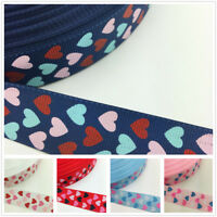 NEW DIY 1 5 Yards 1'' 25mm Peach Heart Printed Grosgrain Ribbon Hair Bow Sewing
