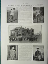 1900 VICTORIAN PRINT ~ OPEN GOLF CHAMPIONSHIP AT ST ANDREWS ~ TAYLOR BRAID
