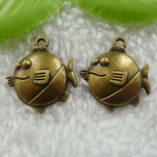 Free Ship 60 pcs bronze plated fish charms 24x21mm #738