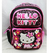 """NWT Hello Kitty 16"""" Large Backpack Bag Black Pink Paisley Style Licensed Sanrio"""