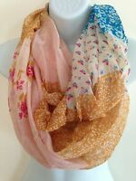 D&Y Women Ladies Fashion Mix Ditsy Flowers Print Circle Loop Infinity Scarf (D)