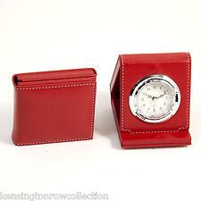 """Ladies Accessories - """"Eaton Square"""" Travel Alarm Clock - Red Leather Case"""