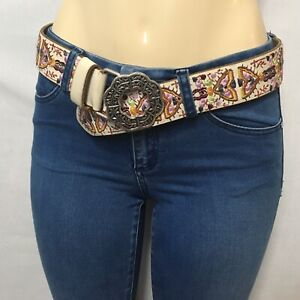 Lucky Brand Brown Leather Embroidered Belt Size Small, Fashion Boho